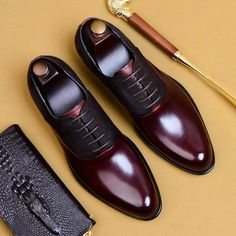 High-Quality Genuine Leather Personality Men's Business Shoe Upper Material: Genuine LeatherUpper-Genuine Leather Type: Cow LeatherToe Shape: Pointed ToeBrand Name: OxfordsFit: Fits true to size, take your normal sizeClosure Type: Lace-UpInsole Ma. Mens Italian Dress Shoes, Men Dress, Men's Dress Shoes, Mens Business Shoes, Business Casual, Mens Fashion Shoes, Shoes Men, Runway Fashion, Men's Fashion