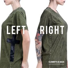 ✟ Cross in military style ✟ | ‪#‎clemmysisback‬ ‪#‎borchie‬ ‪#‎handmade‬ http://www.clemmyisback.it/…/ss16-t-shirt-verde-croce-late…/