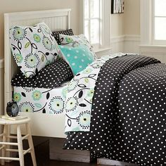 Dottie Duvet Cover + Sham, Black #potterybarnteen  Just enough Black & White for when we go from Nursery to Big Girl Room without having to change the color scheme...just add to it!