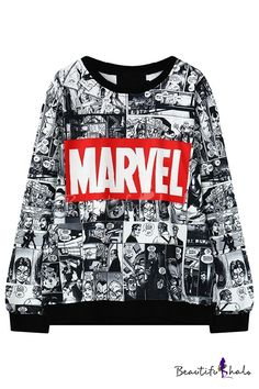 Cartoon Print Round Neck Black Trim Long Sleeve Sweatshirt ((FOR MARY))
