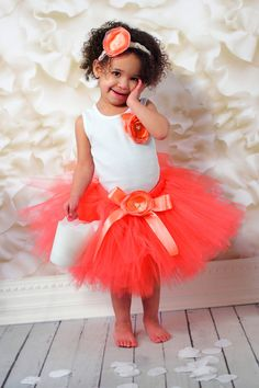 d7f500a9c1c Baby Girls Birthday Tutu Dress Outfit Coral by StrawberrieRose Baby Girl  Tutu