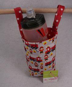 Flaschenhalter, Flaschentasche, Bett, Utensil, Fahrrad, Pucky, Laufrad, nähen, Anleitung, Feuerwehr, Kinderzimmer, Aufbewahrung