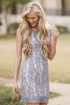 From The Heart Grey Lace Dress at reddressboutique.com