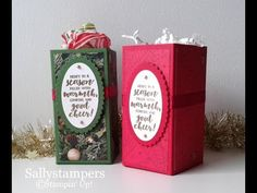 This Open Top Gift Box is inspired by Wendy Cranford who created a box very similar using autumnal paper and colours. I used my own measurements and made them for Christmas. This would fit a small … Top Christmas Gifts, Christmas Cards, Christmas Boxes, Envelope Punch Board, Good Cheer, Top Gifts, Craft Fairs, 3 D, Embellishments