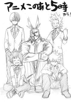 Todoroki Shouto, Izuku Midoriya, Bakugou Katsuki, Kirishima Eijirou, All Might Boku No Hero Academia, My Hero Academia Manga, Bakugou Manga, Comic Manga, Manga Dragon, Anime W, Fan Art, Anime Sketch, Illustrations