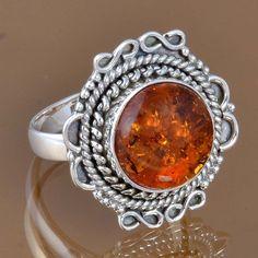 DESIGNER 925 STERLING SILVER SYNTHTIC AMBER RING 5.79g DJR8278 SZ-8.75 #Handmade #Ring
