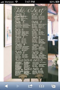 Chalkboard Seating Chart is hand made from re-purposed wood and vintage materials. Chalkboard Wedding, Wedding Signage, Chalkboard Signs, Rustic Wedding, Our Wedding, Dream Wedding, Chalkboards, Large Chalkboard, Private Wedding