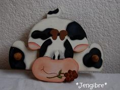 Jengibre: Colgador de Vaca en madera country