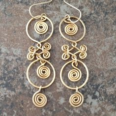 Boho Chic 14K Gold Filled Earrings with Circles and Swirls
