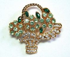 Rhinestone Floral Brooch in Flower Basket by TheVintageBlingBox, $35.00
