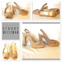 "Price⬇️ Stuart Weitzman platform pumps size 5 Gorgeous, nude/tan peep toe platform pumps. Stuart Weitzman for Russell Bromley. They are labeled a 5 but fit more like a 5.5-6. Features include micro suede upper, adjustable heel strap, 4.5"" heel with 1"" platform, cork heel/platform wrapped in silky gold material that gives a shimmer. Super classic, and by sexy! Don't miss out! EUC Stuart Weitzman Shoes Heels"