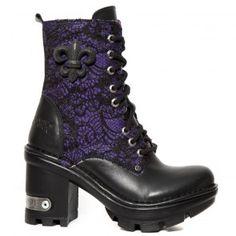 M.NEOTYRE07T-S3 New Rock Black & Purple Lace Neotyre Boots