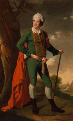 """Hero of the Hour or Georgian Git? Portrait of a Man, Known as the """"Indian Captain"""", ca. 1767, by Joseph Wright of Derby."""