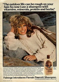 After the Wellla Balsam shampoo campaign, Farrah Fawcett did her own shampoo with Fabergé that launched in Retro Advertising, Retro Ads, Vintage Advertisements, Vintage Ads, Vintage Stuff, Vintage Makeup, Vintage Beauty, 1970s Makeup, Vintage Fashion