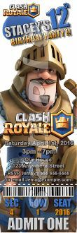CLASH ROYALE TICKET STYLE INVITATIONS (WITH ENVELOPES)