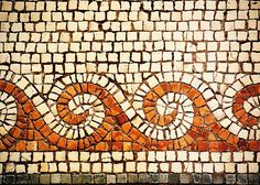 Detail of the mosaic floor of a Byzantine-era church at Tabgha, site of the miracle of the multiplication of the loaves and the fishes.