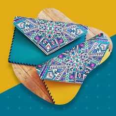Aztec print leather clutch, Tribal leather clutch, bohemian leather clutch, Etnic clutch, Geometric clutch, Leather purse, Colorful clutch