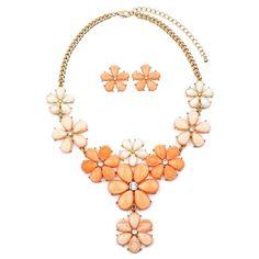 Tangerine Peach Flower Power Statement Necklace Set   eBay