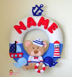 Personalize Felt Name Wall Decor- Nursery Decor - Theme Nautical  ( Garland / Wreath)