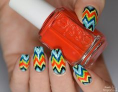 Simply Nailogical: Bestie twin nails: Colourful ikat chevron