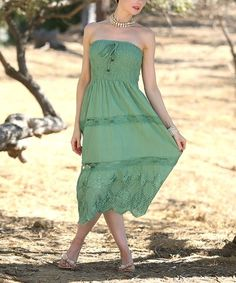 Anandas Collection Green Tiered Convertible-Strap Halter Dress | zulily