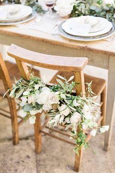 Chair Decor |  | Brinkburn Northumberland Floral Inspiration Shoot | Bels Flowers | Katy Melling Photography | http://www.rockmywedding.co.uk/beautiful-floral-inspiration-at-brinkburn/