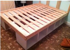 Storage platform bed frame. Think my husband can make this??? :)