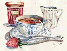 Downton Abbey Strawberry Tea original watercolor: by Paris Breakfast