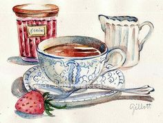 Downton Abbey Strawberry Tea original watercolor: by Paris Breakfast