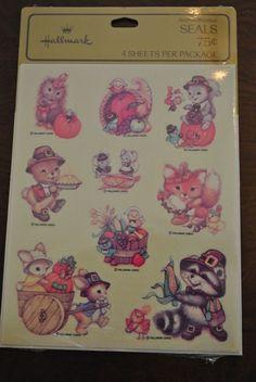 Vtg 1980s Hallmark THANKSGIVING Woodland Forest Animals Stickers 4 Sheets NIP #Hallmark