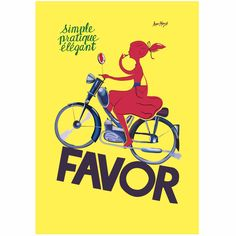 Simple, Practiced and Elegant. This pretty young lady sure is all of these as well as an amazing multi-tasker as she applies her lipstick while riding on her 'Favor' motor bike. French transportation posters are very much on trend and this was shown when this poster made an appearance in the current series of House Rules.  This image is available in the following media types: unmounted matte poster stock, unmounted canvas and mounted stretched canvas.