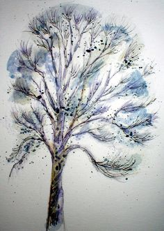 QUICK ASH TREE SKETCH    20 MINUTE WATERCOLOR & INK        @ Louise Christian