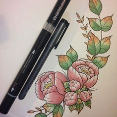 Stunning floral page by @ineznebulatattoo using their Chameleon Pens! #chameleonpens #pen #marker #alcoholmarkers #markerpen #colour #color #colouring #coloring #flower #floral #pink #petals #leaves #depth #dimension #highlights #shading