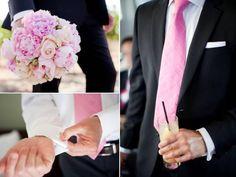 black, white and light pink wedding