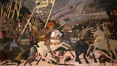 THE BATTLE OF SAN ROMANO-Paolo Uccello, (c. 1396 – was a painter from Florence in Italy, during the time known as the Early Renaissance. He is famous as one of the first painters of the Italian Renaissance to use perspective in his pictures. Italian Renaissance Art, Renaissance Artists, Renaissance Paintings, Painted Horses, Giorgio Vasari, Tempera, Siena, National Gallery, Great Paintings
