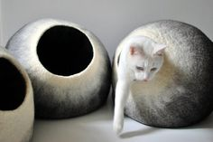 Felted cat bed Medium Felted cat cave Wet Felted by APhilipArt