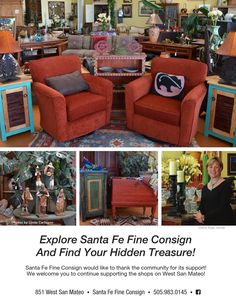 Santa Fe Fine Consign Explore Santa Fe Fine Consign And Find Your Hidden Treasure! Santa Fe Fine Consign would like to thank the community for its support! We welcome you to continue supporting the shops on West San Mateo!