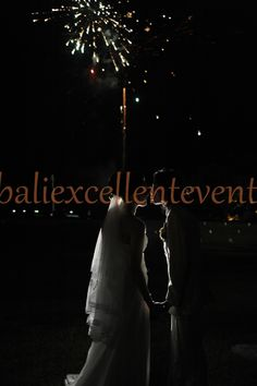 Fireworks along with the bridal kiss, very romantic!
