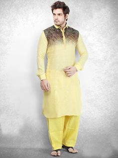 Yellow Cotton Printed Festive Pathani Suit, mens fashion for eid