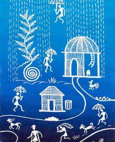 Rain- by Lalita Davjekar Worli Painting, Bottle Painting, Fabric Painting, Colorful Drawings, Easy Drawings, Jamini Roy, Mandala Art Lesson, Simple Canvas Paintings, Indian Folk Art