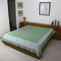 Indian Decor Home Styles Bed Sheet Queen Cotton Flat Sheet Block Print: Amazon.co.uk: Kitchen & Home