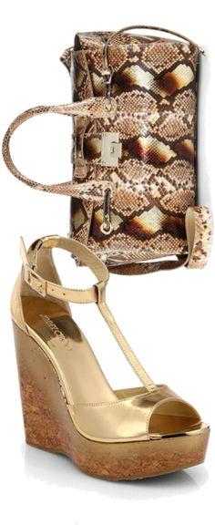 Jimmy Choo 'Chandra' Metallic Leather Clutch &  'Whistler ' Snake Embossed Leather Wedge Pump #JimmyChoo #Wedges #Shoes