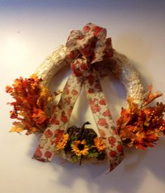 Fall Or Thanksgiving Straw Wreath by DellaGoodiesandGifts on Etsy, $25.00 Straw Wreath, Make And Sell, How To Make, Holiday Ideas, Holiday Decor, Christmas Wreaths, Goodies, Thanksgiving, Pumpkin