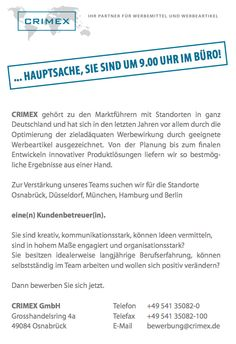 Personalanzeigen von #CRIMEX Promotion, Corporate Gifts