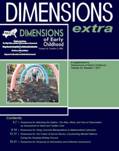 Dimensions Extra Winter 2017 - Resources for Watching the Babies | Resources for Using Concrete Manipulatives in Mathematical Instruction | Resources for The Power of Secret Stories | Resources for Response to Intervention and Authentic Assessment