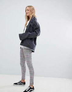 Daisy Street   Daisy Street High Waist Slim Trousers In Check