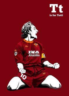 Francesco Totti of AS Roma & Italy wallpaper. Soccer Art, Soccer Poster, Football Art, World Football, Totti Roma, World Cup Winners, As Roma, Football Wallpaper, Sports Art