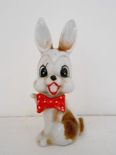 Arnart Bow Tie Wearing Bunny Rabbit Figurine- Made in Japan 1930s-  Kitsch Anthropomorphic Ornament