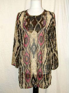 Sz S Chico's Sz 1 Gypsy Queen Poly Chiffon Tunic 3/4 Sleeves Sheer Evening #Chicos #Tunic #EveningOccasion