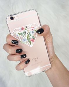 black nails and diamond phone case are meant to be together, get it at Milkyway cases #milkywaycases #iphone #phonecase